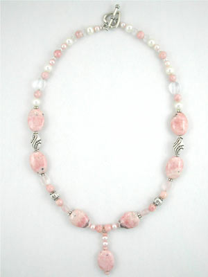 rhodochrosite and pearl necklace