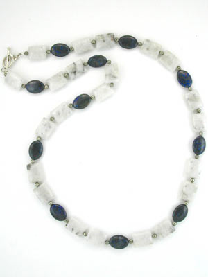 quartz and lapis beaded gemstone necklace