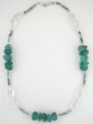 blue fluorite beaded necklace