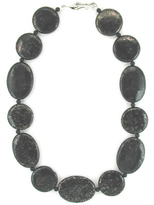 black onyx with pyrite beaded necklace