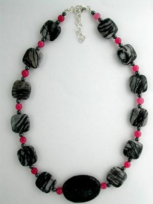 rose jade and black jasper necklace