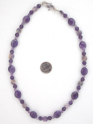 amethyst and lepidolite gemstone necklace