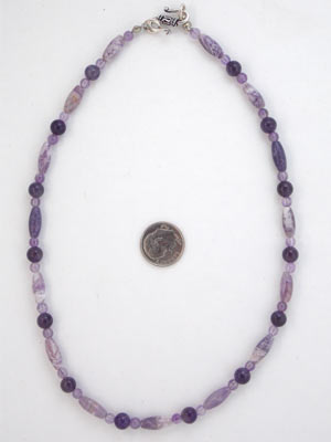 amethyst and lepidalite necklace