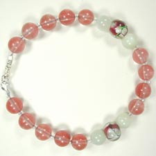 handmade gemstone and lampwork glass bracelet
