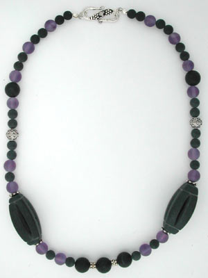 matte amethyst and blackstone necklace