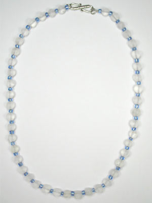 frosted quartz and blue glass necklace