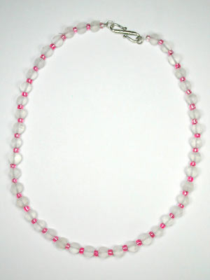 frosted quartz and pink glass necklace