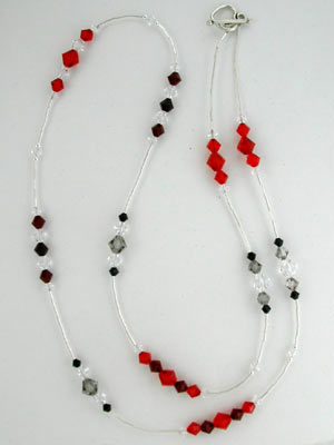 extra long red Swarovski necklace