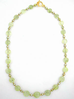 prehnite and green pearl necklace