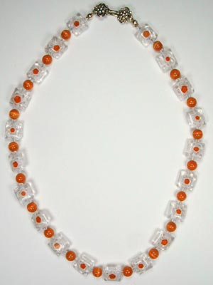 orange glass beaded necklace
