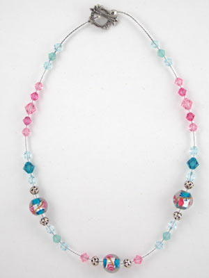 Swarovski pink and aqua with lamp glass necklace