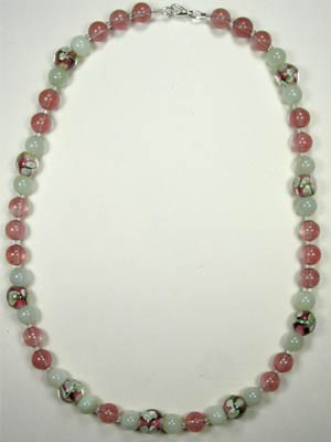 handmade gemstone and lampwork glass necklace
