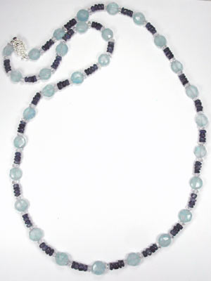 quartz and iolite gemstone necklace