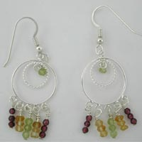 peridot citrine garnet earrings