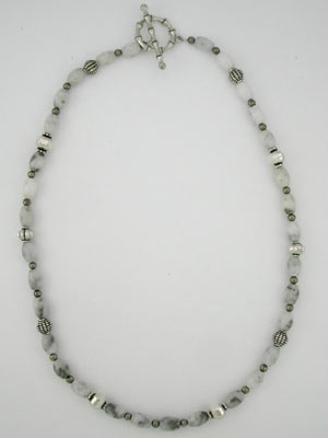 white quartz and pyrite necklace
