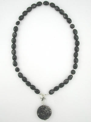 hypersthene beaded necklace with silver scale pendant