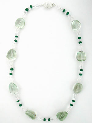 beaded green amethyst necklace