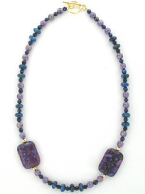 purple turquoise and lapis gemstone necklace