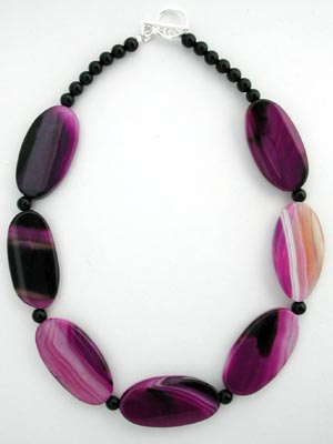 Semi precious gemstone purple and pink mixed colour agate bead stone with a large catch choker necklace yxlMeTizay