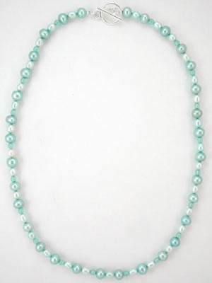 handmade blue pearl necklace