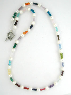 multi color gemstone and pearl necklace