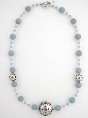 angelite gemstone beaded necklace