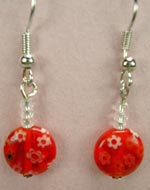 Red Millefiori glass earrings