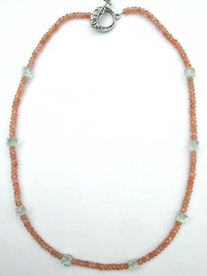 sunstone and green amethyst beaded necklace