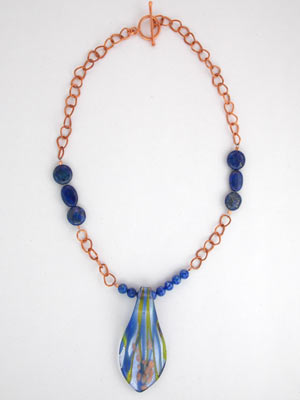 blue lapis and copper necklace