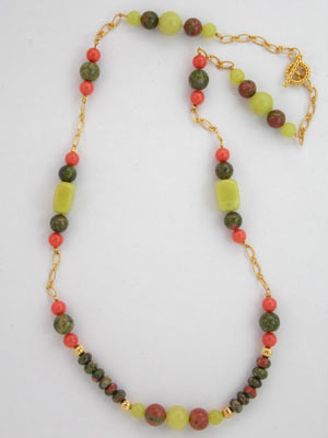 unakite and serpentine necklace