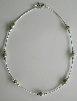 Liquid Silver and Sterling Silver Bead Necklace