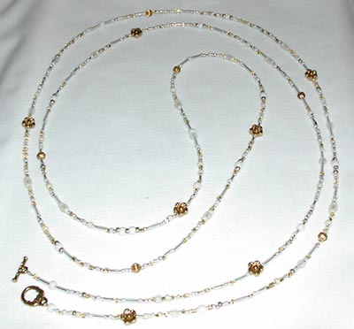 Gold Flower and White Seed Bead Necklace