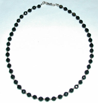 Faceted Black Onyx Bead Necklace