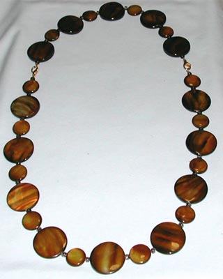 Brown Mother of Pearl Necklace and Bracelet