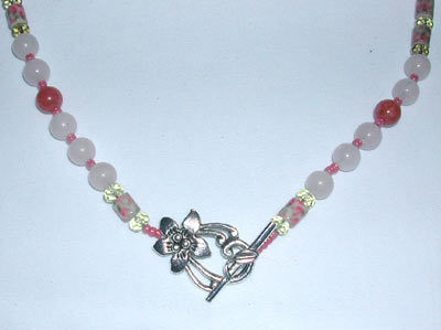 Pink Floral Glass Bead Necklace