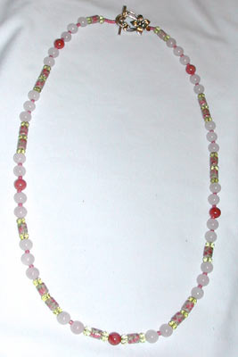 Pink Floral and Rose Quartz Necklace