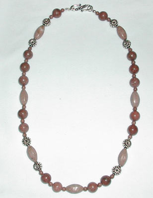 Rhodonie and Silver Necklace
