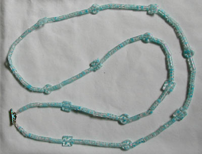 Light Blue Millefiori Glass Necklace