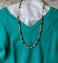 long wood necklace with V neckline