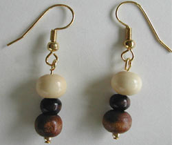 Brown and White Wood Earrings