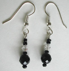Faceted Black Onyx and Swarovski Crystal Earrings