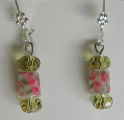 Pink Floral Lampwork Glass Earrings