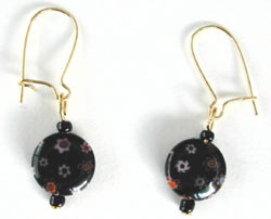 Black Millefiori Earrings