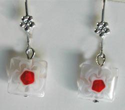 Square Glass Flower Earrings