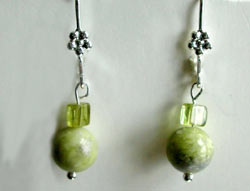 Peridot Jasper and Peridot Earrings