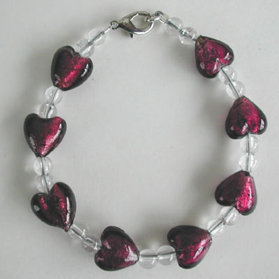 Red Heart Glass Bracelet