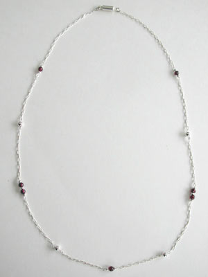 Sterling Silver Chain and Garnet Necklace