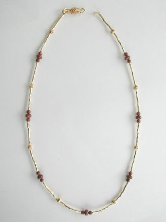 Goldstone and Gold Bead Necklace