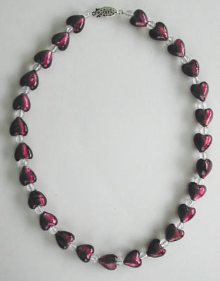 Dark Red Lampwork Glass Heart Necklace