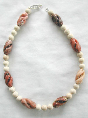 Carved Barrel Pink Necklace